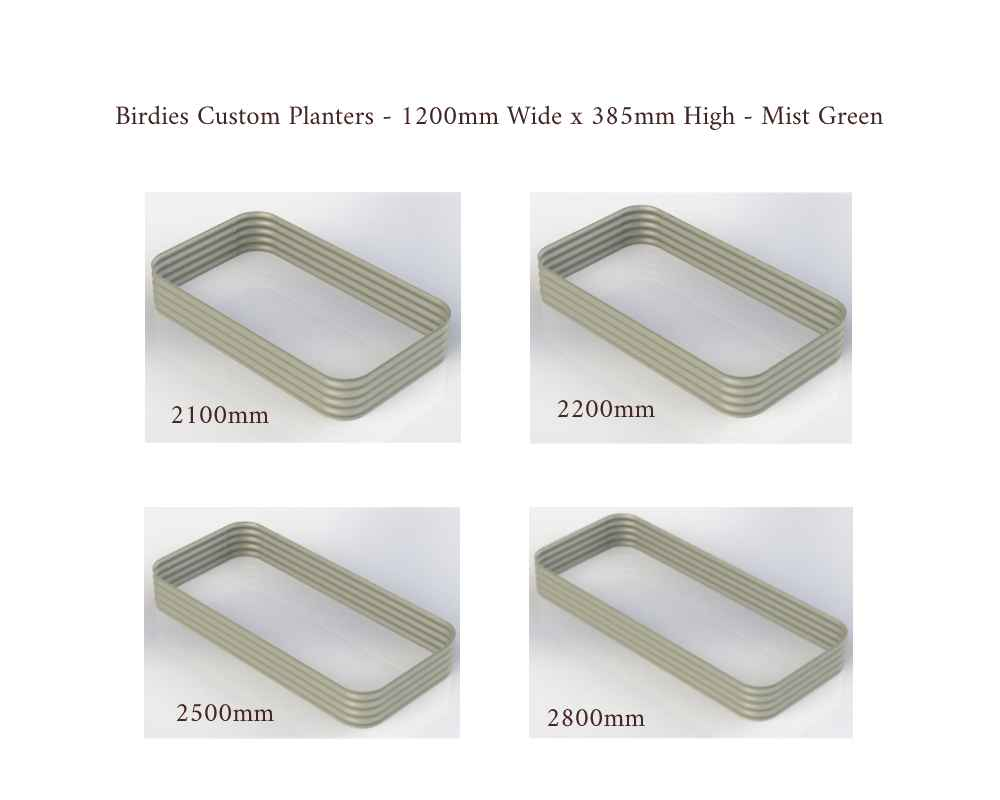Birdies Custom Planters - 1200mm Wide x 385 High - Lengths: 2100mm, 22000mm, 2500mm, 2800mm - Mist Green