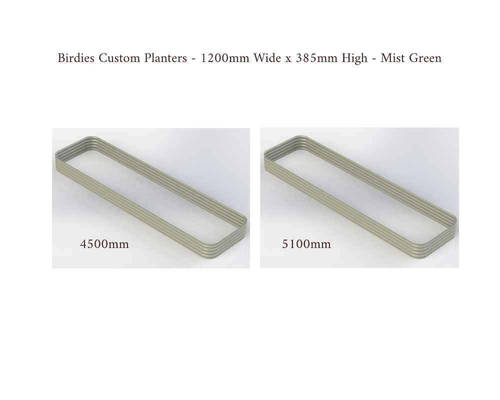 Birdies Custom Planters - 1200mm Wide x 385 High - Lengths: 4500mm, 5100mm - Mist Green