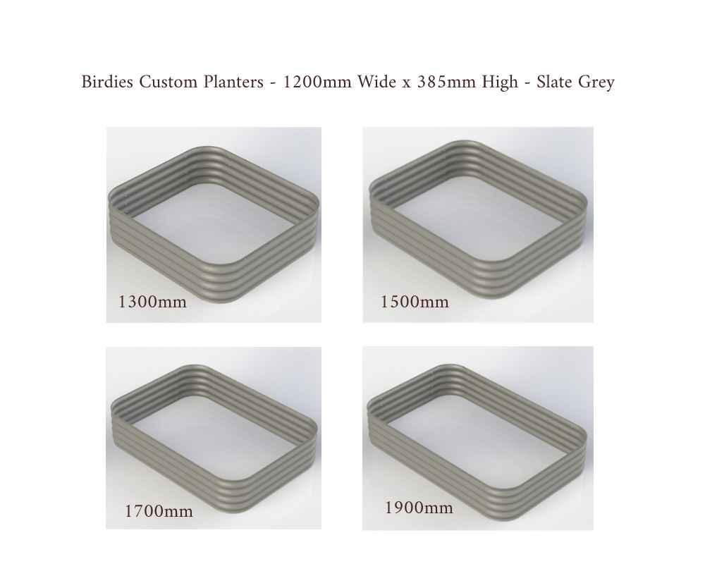 Birdies Custom Planters - 1200mm Wide x 385mm High - Lengths: 1300mm, 1500mm, 1700mm, 1900mm - Slate Grey