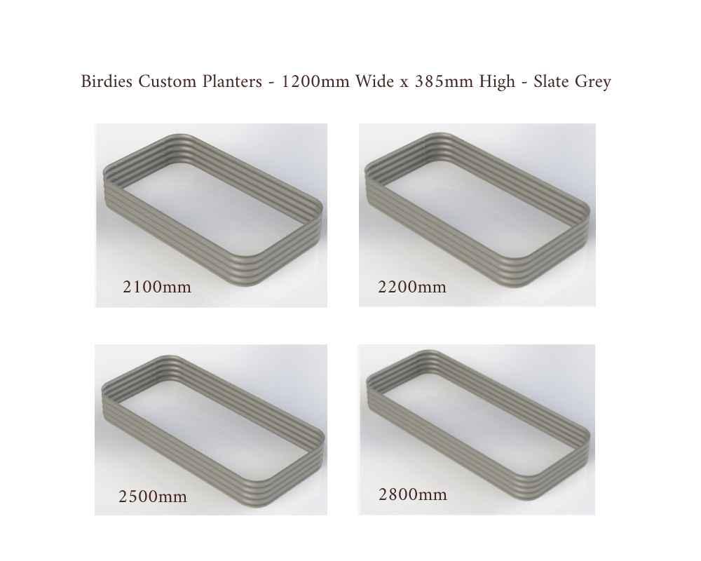 Birdies Custom Planters - 1200mm Wide x 385mm High - Lengths: 2100mm, 2200mm, 2500mm, 2800mm - Slate Grey