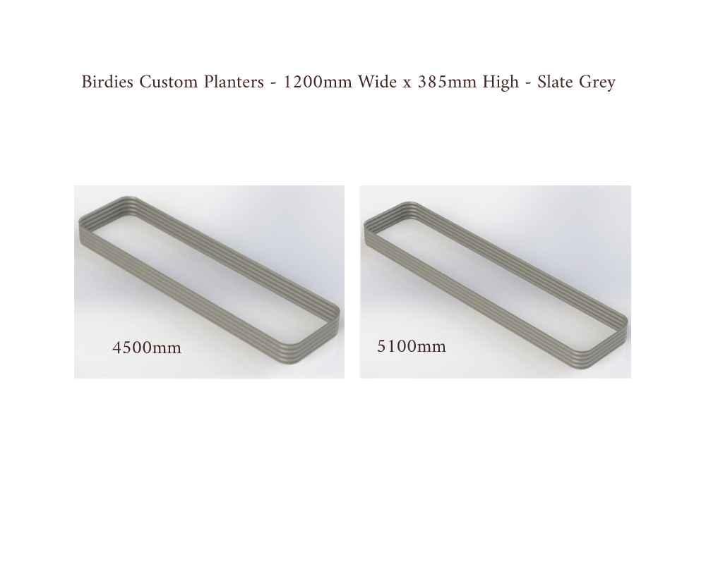 Birdies Custom Planters - 1200mm Wide x 385mm High - Lengths: 4500mm, 5100mm - Slate Grey