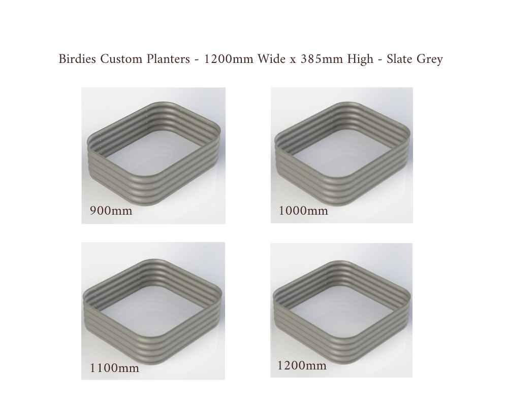 Birdies Custom Planters - 1200mm Wide x 385mm High - Lengths: 900mm, 1000mm, 1100mm, 1200mm - Slate Grey