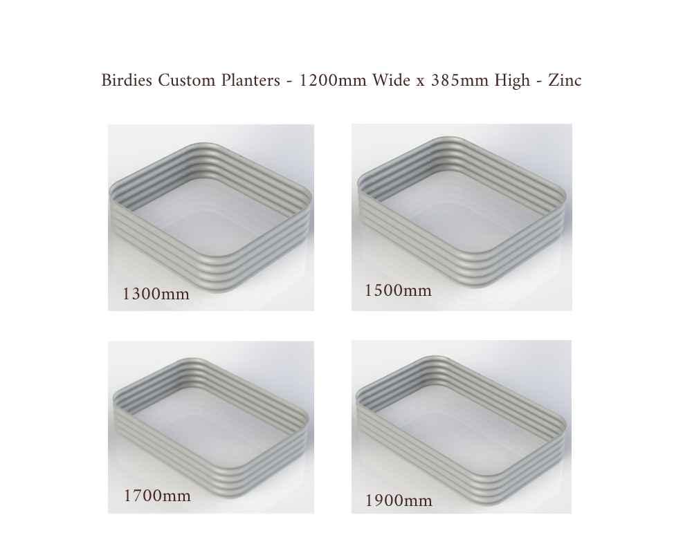 Birdies Custom Planters - 1200mm Wide x 385mm High - Lengths: 1300mm, 1500mm, 1700mm, 1900mm - Zinc