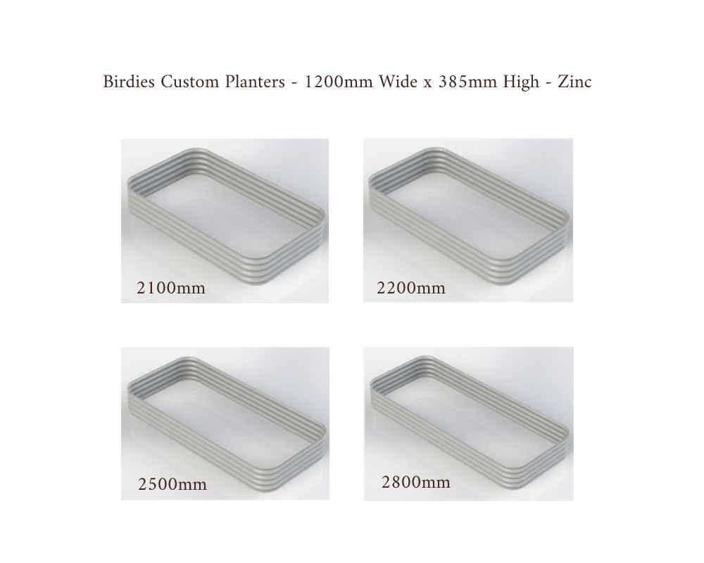 Birdies Custom Planters - 1200mm Wide x 385mm High - Lengths: 2100mm, 2200mm, 2500mm, 2800mm - Zinc