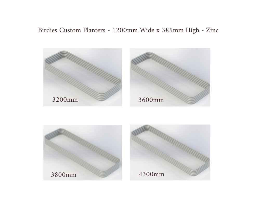 Birdies Custom Planters - 1200mm Wide x 385mm High - Lengths: 3200mm, 3600mm, 3800mm, 4300mm - Zinc