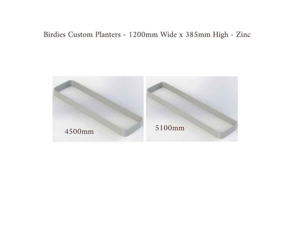 Birdies Custom Planters - 1200mm Wide x 385mm High - Lengths: 4500mm, 5100mm - Zinc