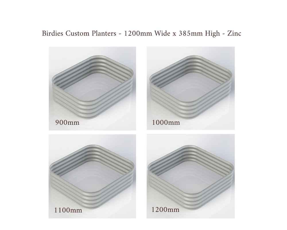 Birdies Custom Planters - 1200mm Wide x 385mm High - Lengths: 900mm, 1000mm, 1100mm, 1200mm - Zinc