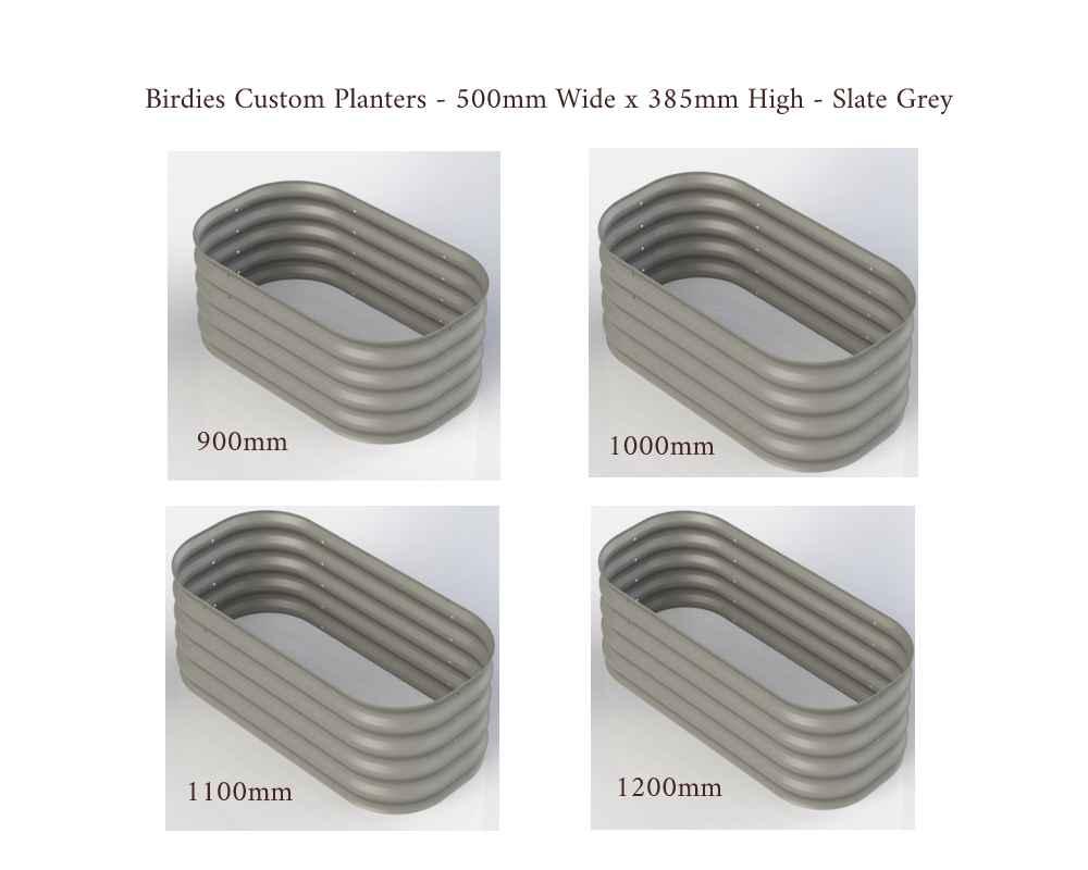 Birdies Custom Planters - 500mm Wide x 385 High - Lengths: 900mm, 1000mm, 1100mm, 1200mm - Slate Grey
