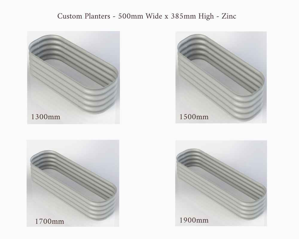 Birdies Custom Planters - 500mm Wide x 385mm High - Lenghts: 1300mm, 1500mm, 1700mm and 1900mm - Zinc