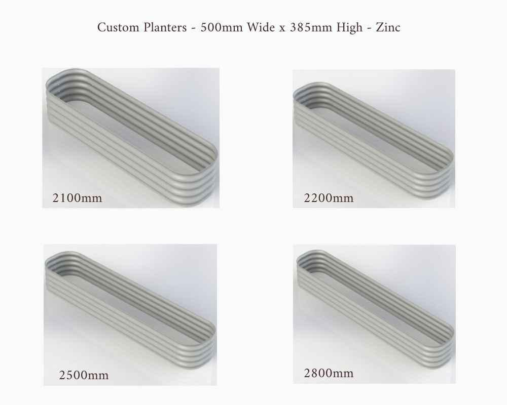 Birdies Custom Planters - 500mm Wide x 385mm High - Lengths: 2100mm, 2200mm, 2500mm and 2800mm - Zinc