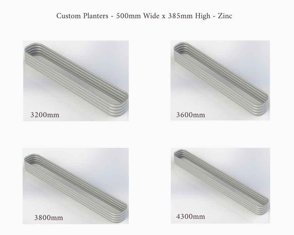 Birdies Custom Planters - 500mm Wide x 385mm High - Lengths: 3200mm, 3600mm, 3800mm and 4300mm - Zinc