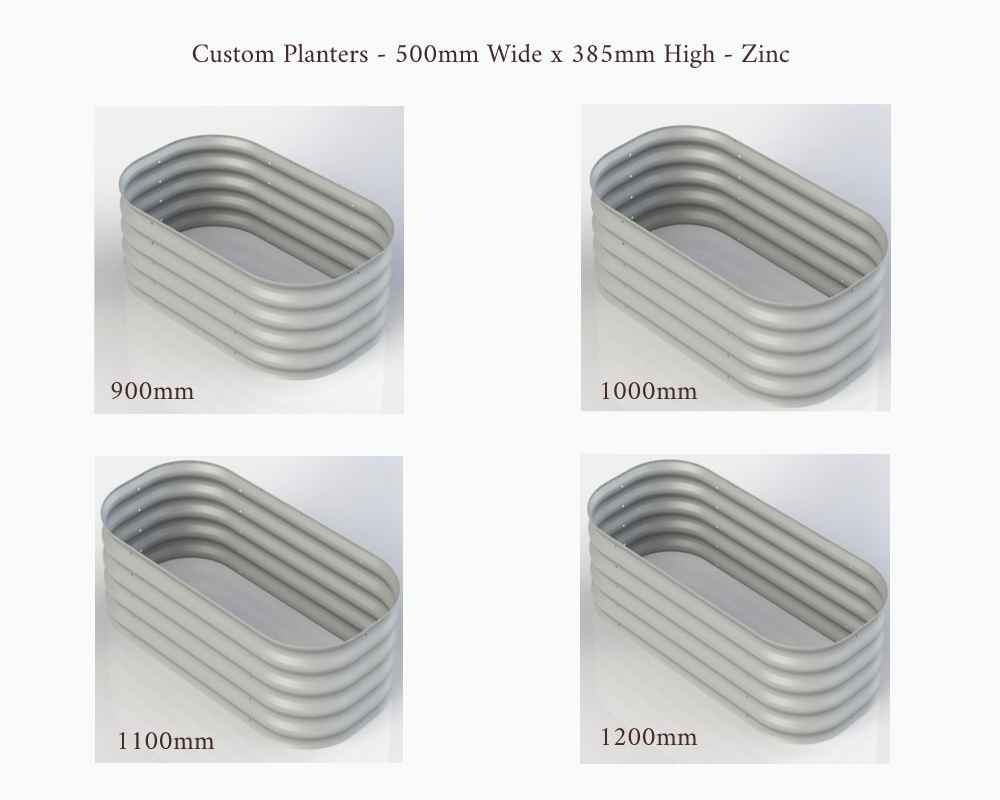 Birdies Custom Planters - 500mm Wide x 385mm High - Lengths: 900mm, 1000mm, 1100mm and 1200mm - Zinc