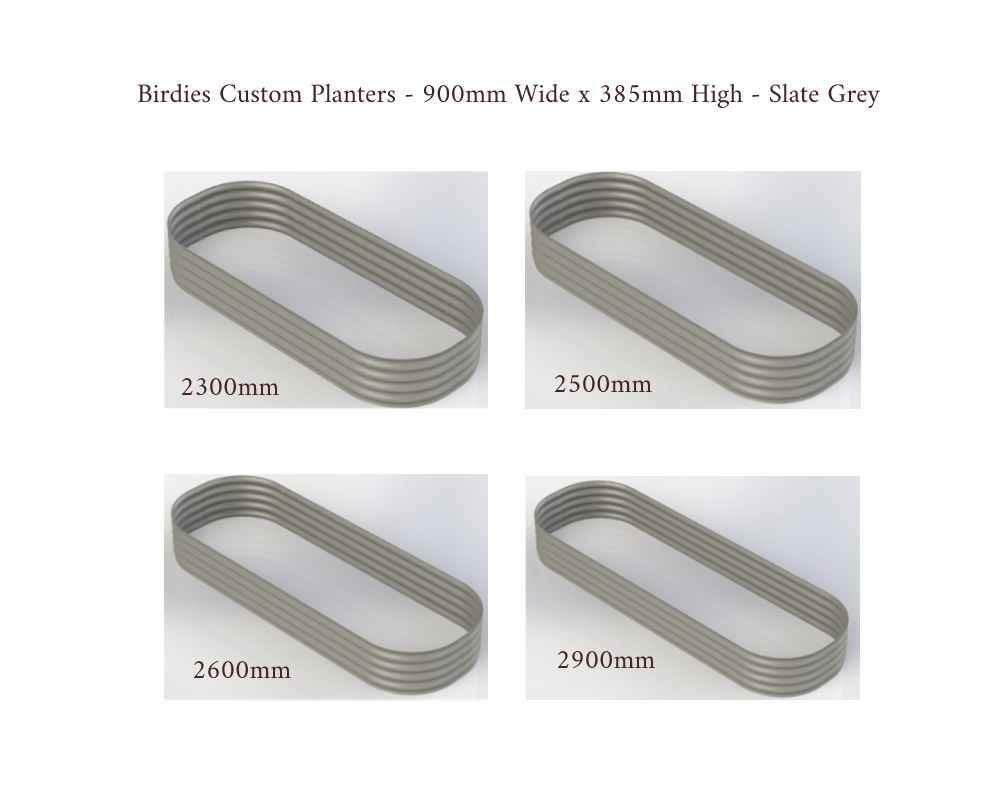 Birdies Custom Planters - 900mm Wide x 385mm High - Lengths: 2300mm, 2500mm, 2600mm, 2900mm - Slate Grey