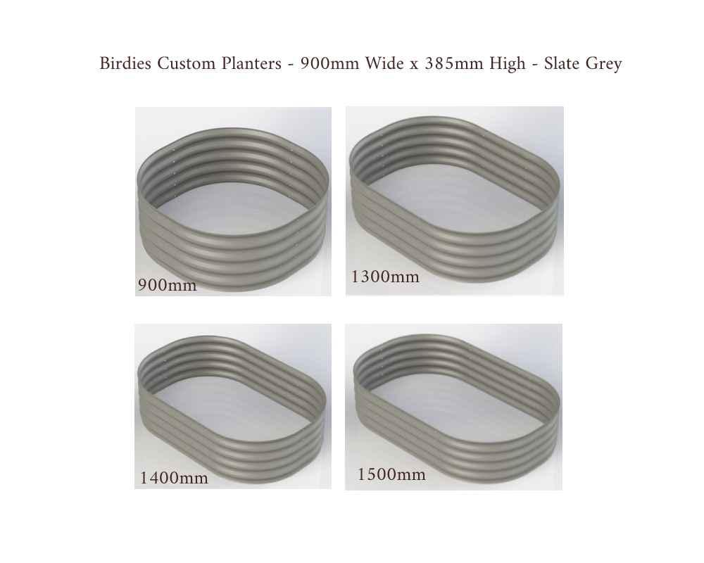Birdies Custom Planters - 900mm Wide x 385mm High - Lengths: 900mm, 1300mm, 1400mm, 1500mm - Slate Grey