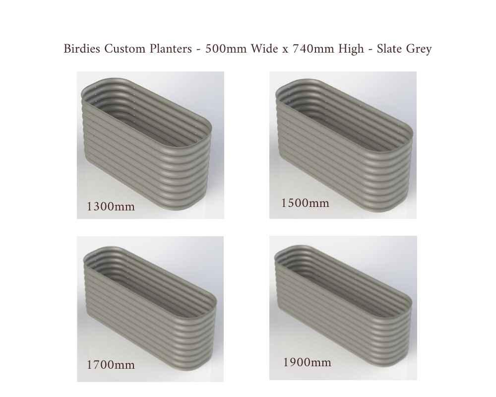 Birdies Custom Planters - 500mm Wide x 740mm High - Lengths: 1300mm, 1500mm, 1700mm, 1900mm - Slate Grey