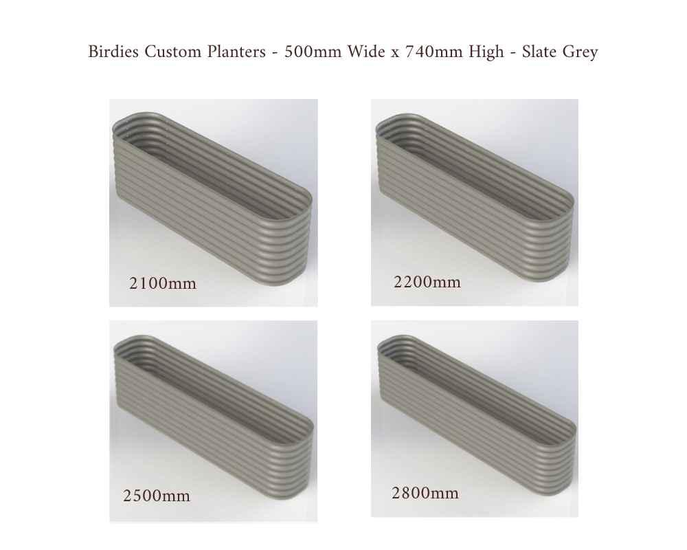Birdies Custom Planters - 500mm Wide x 740mm High - Lengths: 2100mm, 2200mm, 2500mm, 2800mm - Slate Grey