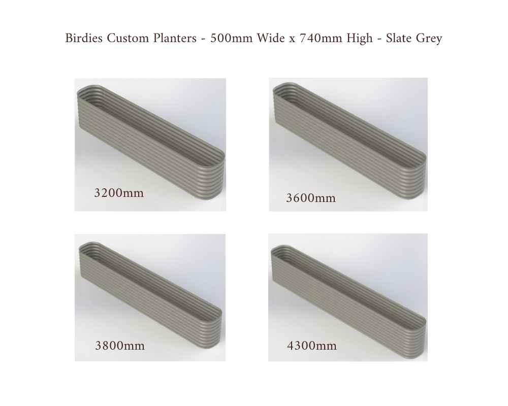 Birdies Custom Planters - 500mm Wide x 740mm High - Lengths: 3200mm, 3600mm, 3800mm, 4300mm - Slate Grey