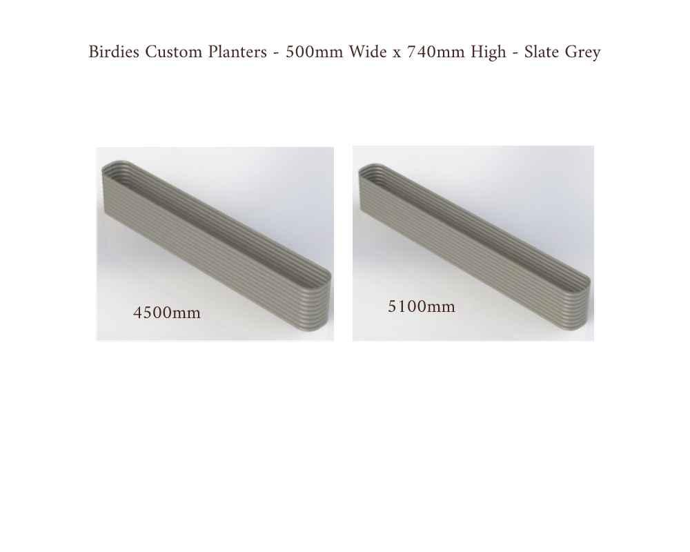 Birdies Custom Planters - 500mm Wide x 740mm High - Lengths: 4500mm, 5100mm - Slate Grey