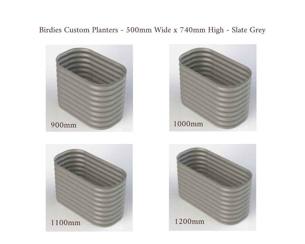 Birdies Custom Planters - 500mm Wide x 740mm High - Lengths: 900mm, 1000mm, 1100mm, 1200mm - Slate Grey