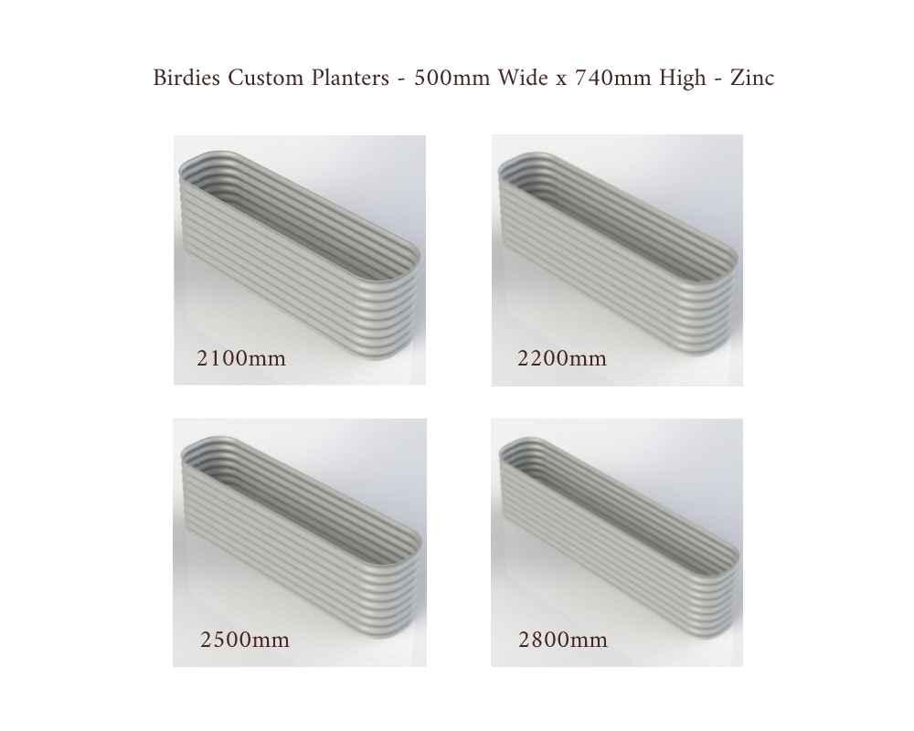 Birdies Custom Planters - 500mm Wide x 740mm High - Lengths: 2100mm, 2200mm, 2500mm, 2800mm - Zinc