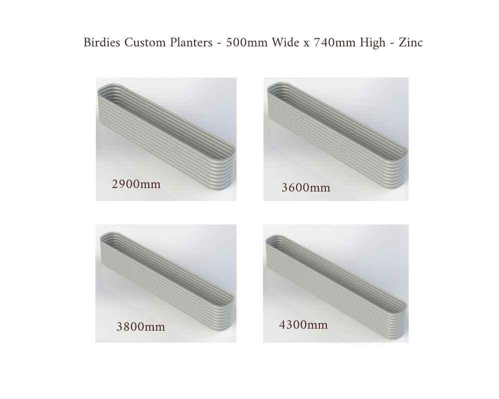 Birdies Custom Planters - 500mm Wide x 740mm High - Lengths: 2900mm, 3600mm, 3800mm, 4300mm - Zinc