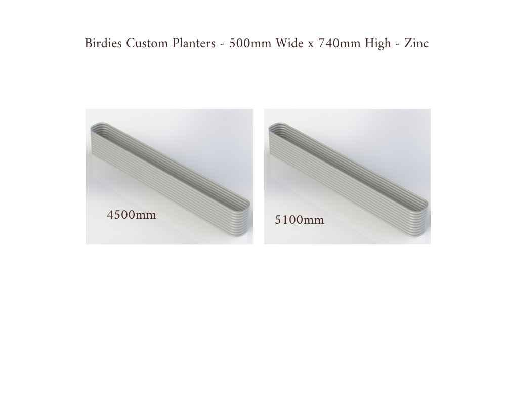 Birdies Custom Planters - 500mm Wide x 740mm High - Lengths: 4500mm, 5100mm - Zinc