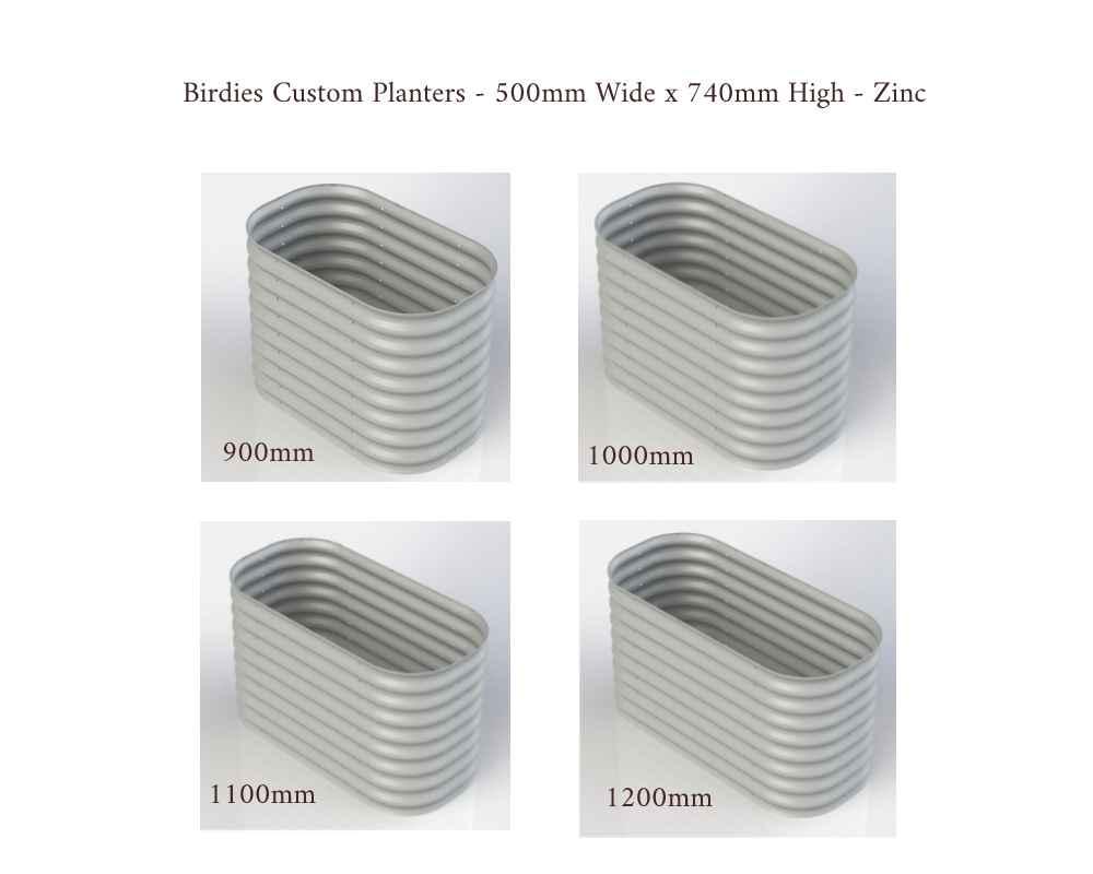 Birdies Custom Planters - 500mm Wide x 740mm High - Lengths: 900mm, 1000mm, 1100mm, 1200mm - Zinc