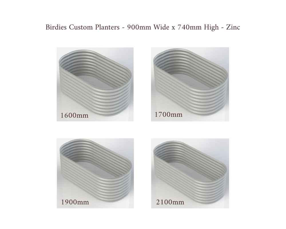 Birdies Custom Planters - 900mm Wide x 740mm High - Lengths: 1600mm, 1700mm, 1900mm, 2100mm - Zinc