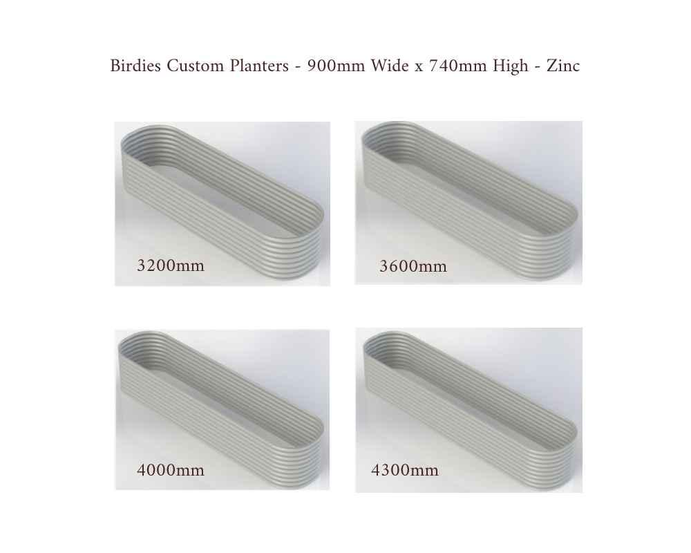 Birdies Custom Planters - 900mm Wide x 740mm High - Lengths: 3200mm, 3600mm, 4000mm, 4300mm - Zinc