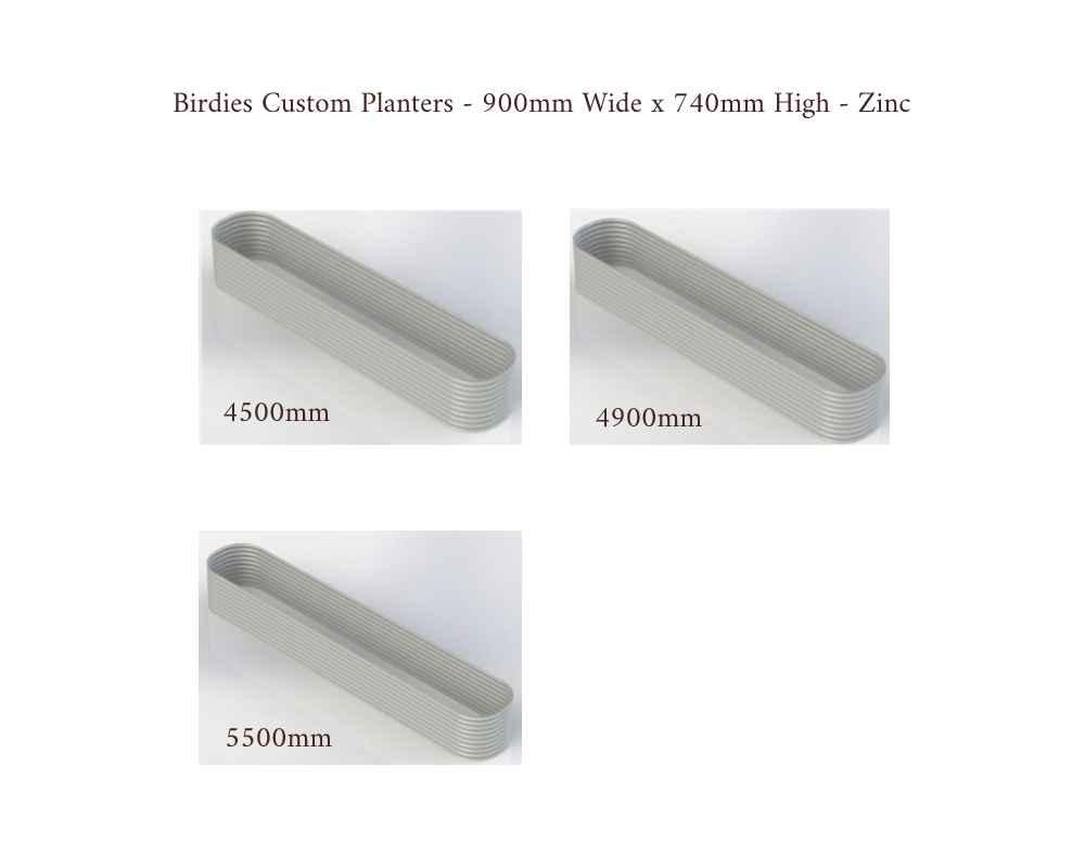 Birdies Custom Planters - 900mm Wide x 740mm High - Lengths: 4500mm, 4700mm, 5500mm - Zinc