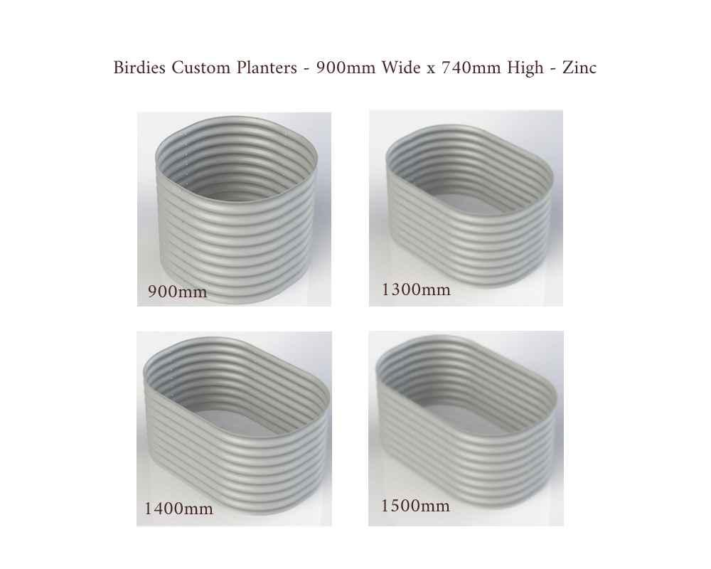 Birdies Custom Planters - 900mm Wide x 740mm High - Lengths: 900mm, 1300mm, 1400mm, 1500mm - Zinc