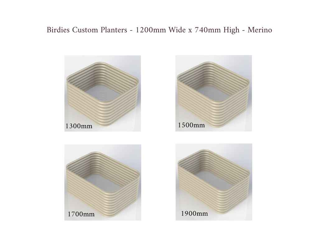 Birdies Custom Planters - 1200mm Wide x 740mm High - Lengths: 1300mm, 1500mm, 1700mm, 1900mm - Merino