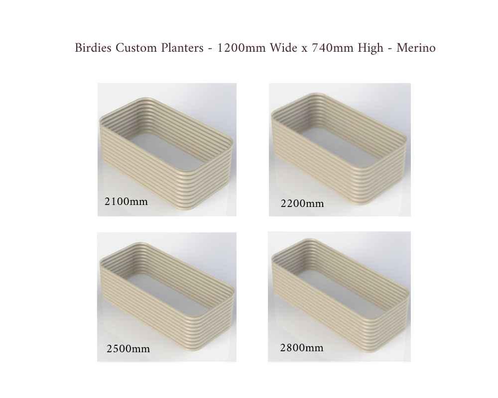 Birdies Custom Planters - 1200mm Wide x 740mm High - Lengths: 2100mm, 2200mm, 2500mm, 2800mm - Merino