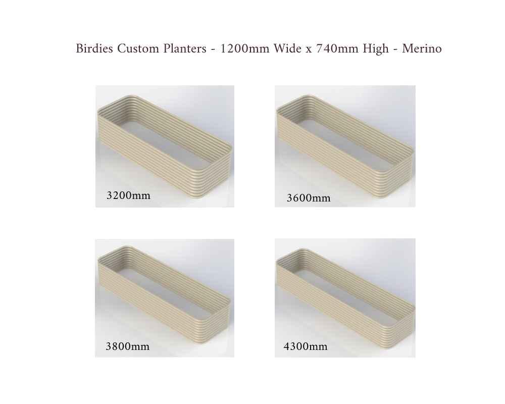 Birdies Custom Planters - 1200mm Wide x 740mm High - Lengths: 3200mm, 3600mm, 3800mm, 4300mm - Merino