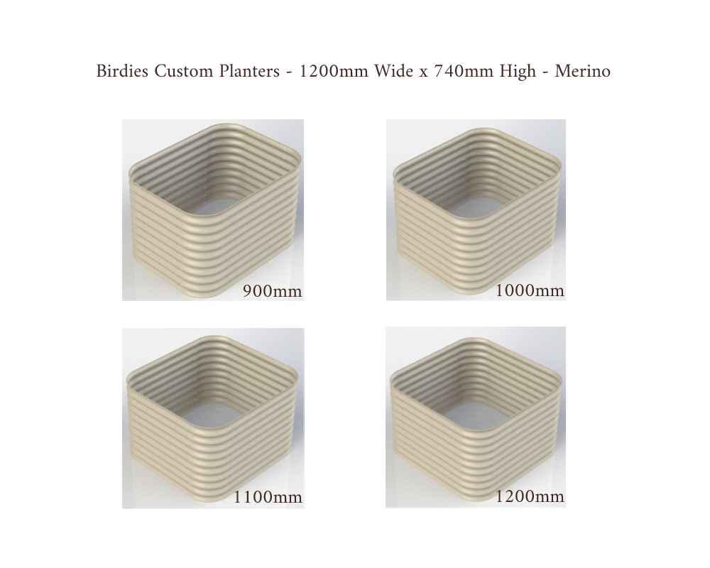 Birdies Custom Planters - 1200mm Wide x 740mm High - Lengths: 900mm, 1000mm, 1100mm, 1200mm - Merino