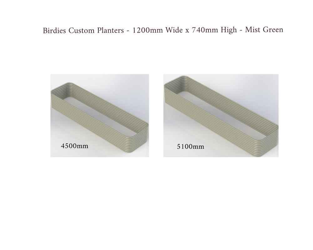 Birdies Custom Planters - 1200mm Wide x 740mm High - Lengths: 4500mm, 5100mm - Mist Green