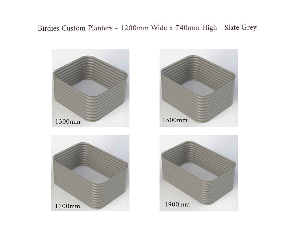 Birdies Custom Planters - 1200mm Wide x 740mm High - Lengths: 1300mm, 1500mm, 1700mm, 1900mm - Slate Grey