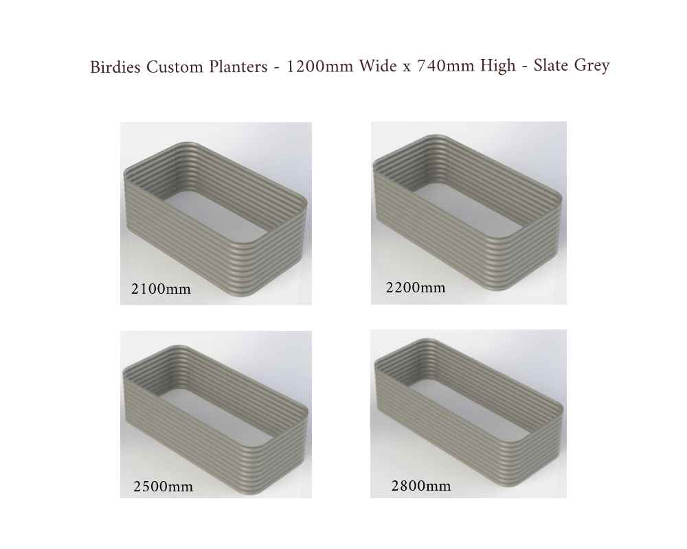 Birdies Custom Planters - 1200mm Wide x 740mm High - Lengths: 2100mm, 2200mm, 2500mm, 2800mm - Slate Grey