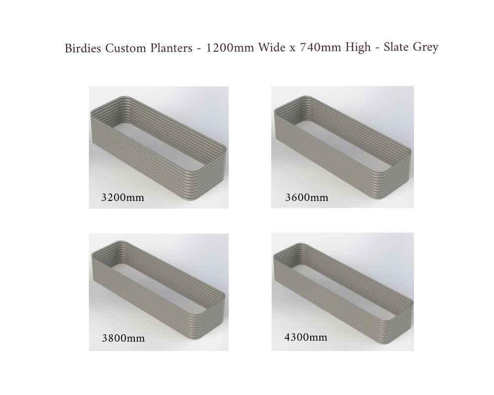 Birdies Custom Planters - 1200mm Wide x 740mm High - Lengths: 3200mm, 3600mm, 3800mm, 4300mm - Slate Grey