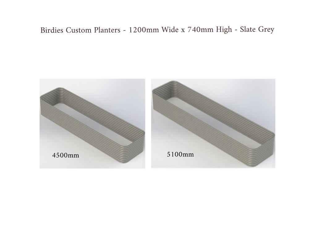Birdies Custom Planters - 1200mm Wide x 740mm High - Lengths: 4500mm, 5100mm - Slate Grey
