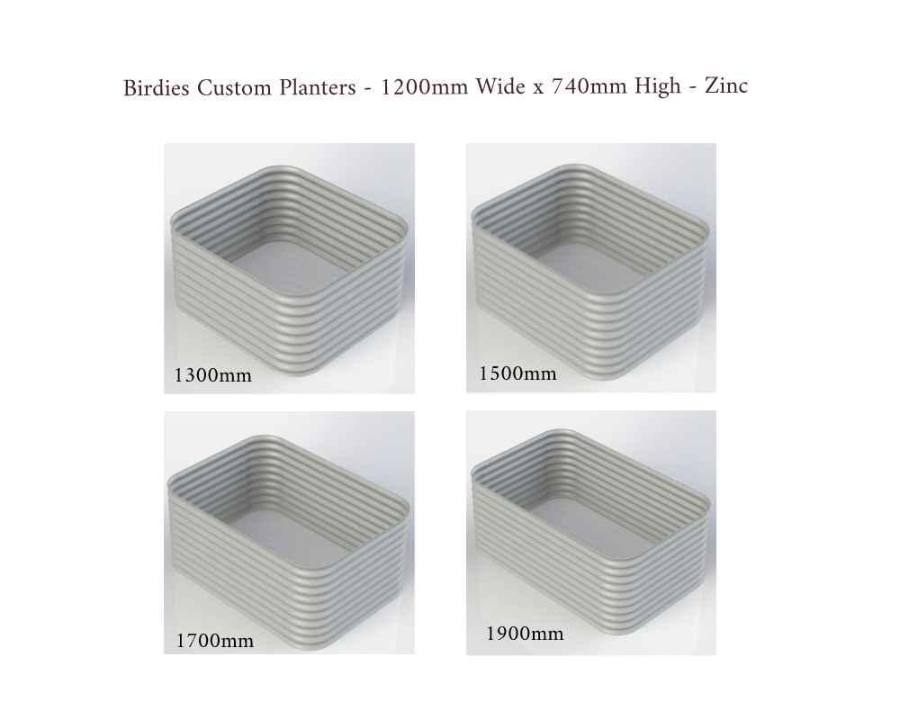 Birdies Custom Planters - 1200mm Wide x 740mm High - Lengths: 1300mm, 1500mm, 1700mm, 1900mm - Zinc