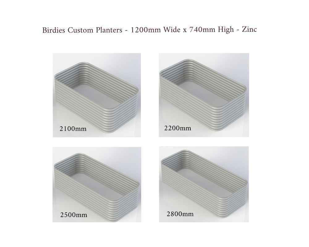 Birdies Custom Planters - 1200mm Wide x 740mm High - Lengths: 2100mm, 2200mm, 2500mm, 2800mm - Zinc