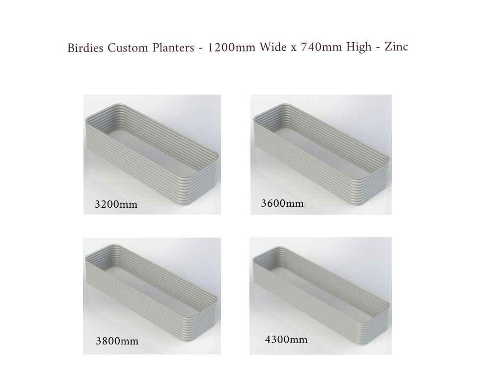 Birdies Custom Planters - 1200mm Wide x 740mm High - Lengths: 3200mm, 3600mm, 3800mm, 4300mm - Zinc