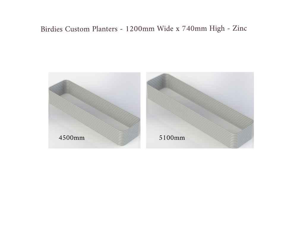 Birdies Custom Planters - 1200mm Wide x 740mm High - Lengths: 4500mm, 5100mm - Zinc