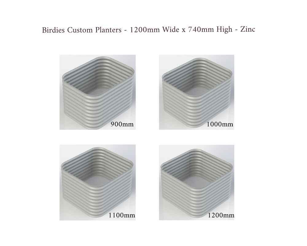Birdies Custom Planters - 1200mm Wide x 740mm High - Lengths: 900mm, 1000mm, 1100mm, 1200mm - Zinc