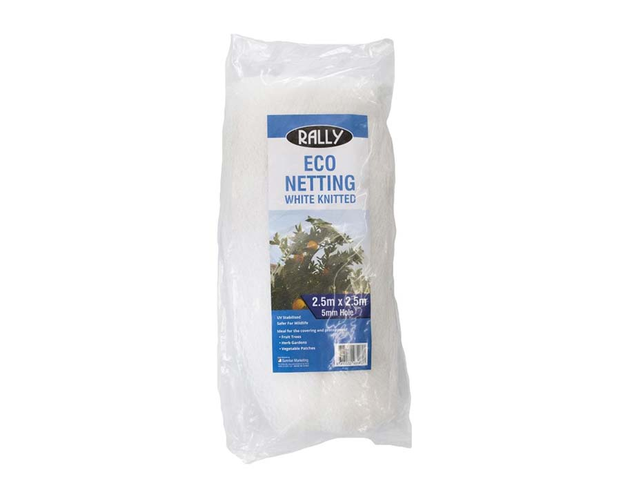 Eco Knitted Netting - 2.5m x 2.5m - White - Rally