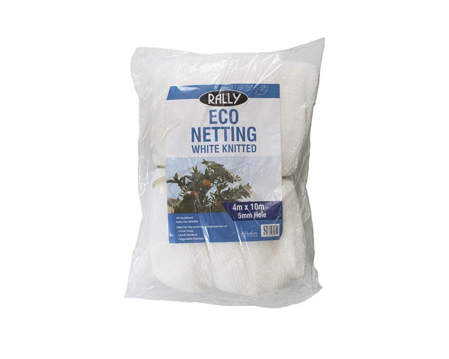 Eco Knitted Netting - 4m x 10m - White - Rally