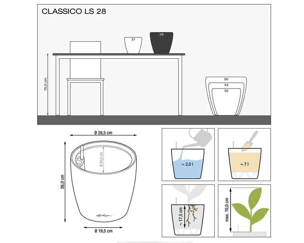 Classico LS 28 Premium Self-Watering Pot - Diagram - Lechuza