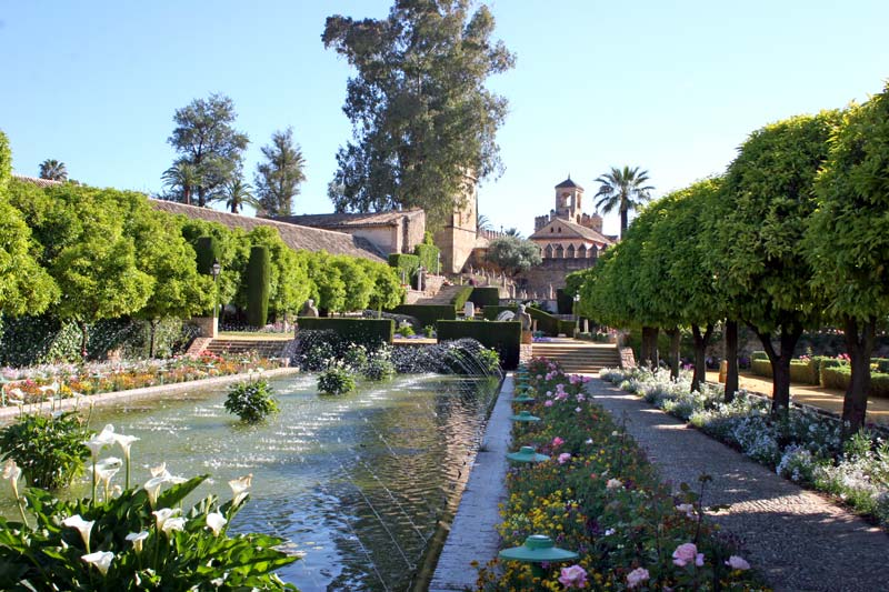 Splendid Moorish Alcazar Gardens featuring, as always, water as a central focus. - photo Jill Triay