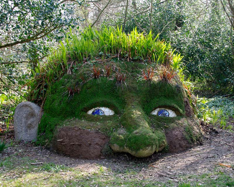 Placed in a woodland setting the Giant's Head or Mud Man has a magical feel, Lost Gardens of Heligan